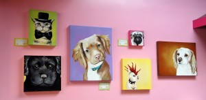 Dog portrait artist, Amy Yeager; showcased at Woof Gang Bakery Six Forks Rd Raleigh,
