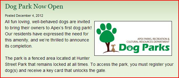 New Apex Dog Park, Now Open!!
